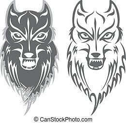 wolf - black and white wolf pattern design.