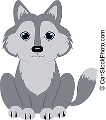 Wolf - Baby wolf seated