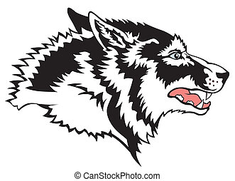 Wolf - Abstract vector illustration of wolf face