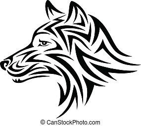 Wolf face - Wolf art tattoo design
