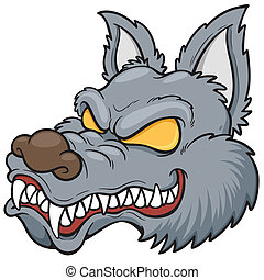 Wolf face - Vector illustration of cartoon wolf face