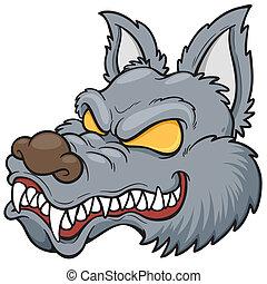 Wolf face - Vector illustration of cartoon wolf face