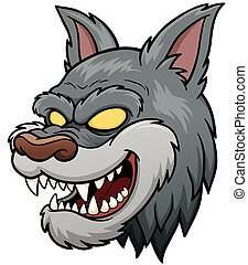 Wolf face - Vector illustration of Wolf Face cartoon