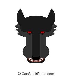 Wolf face isolated. Predator beast muzzle head vector illustration