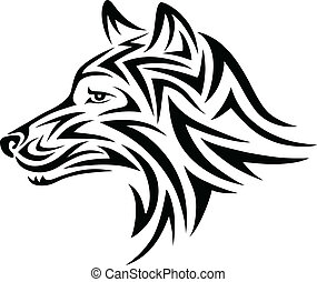 Wolf face - Wolf art tattoo design