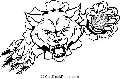 Wolf Golf Mascot Breaking Background