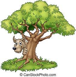 wolf, grote boom, spotprent, fairytale, slecht