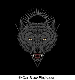 Wolf head angry illustration