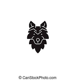 Wolf head black vector concept icon. Wolf head flat illustration, sign