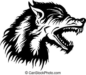 Wolf head emblem - Illustration a roaring wolf head emblem...
