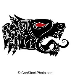 Wolf head howl design for tribal tattoo