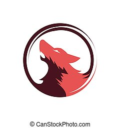 Wolf Head Howling Circle Logo Template