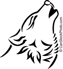 Wolf head howling