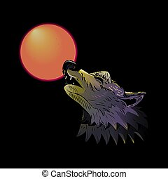 Wolf head howling on the moon