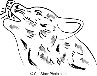 Wolf head isolated on white background. Animal silhouette