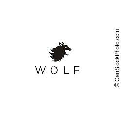 wolf head logo design vector