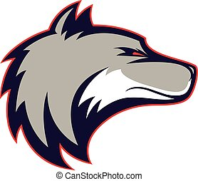 Wolf head mascot - Clipart picture of a wolf head cartoon...