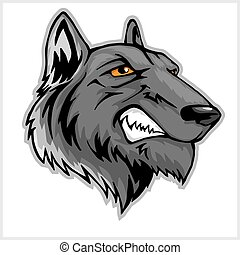 Wolf head mascot isolated on white.