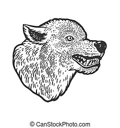 Wolf head tattoo sketch engraving vector illustration. T-shirt apparel print design. Scratch board imitation. Black and white hand drawn image.