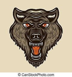 Wolf head vector colored vintage illustration