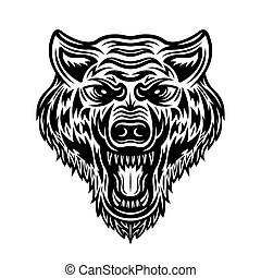 Wolf head vector isolated detailed illustration