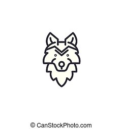 wolf head vector line icon, sign, illustration on background, editable strokes