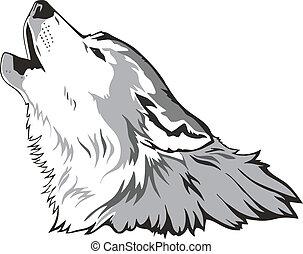 Wolf head as a simbol, vector illustration.