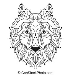 Wolf head zentangle stylized, coloring page.