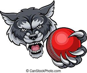 Wolf Holding Cricket Ball Mascot