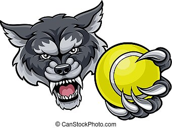 Wolf Holding Tennis Ball Mascot