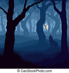 Wolf howling at moon. - Vector illustration of wolf howling ...