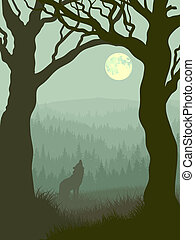 Vector illustration of wolf howling at moon in night forest in green tone.