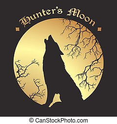 Wolf howling at the full hunter's moon - Silhouette of wolf...
