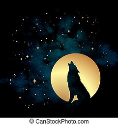 Wolf howling at the full moon vector illustration -...