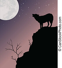 Illustration of a wolf howling at the moon with a background of the moon and a starry sky.