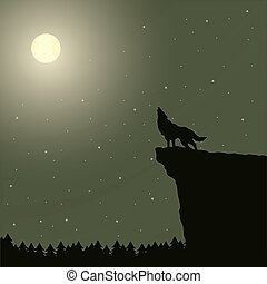 Wolf howling at the moon.