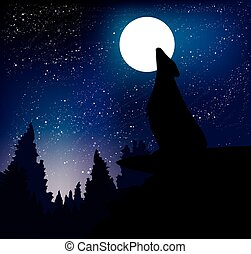 Wolf howling at the night moon standing on the mountain. Vector illustration