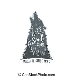 Wolf howling. Grunge logo.