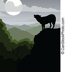 Illustration of a wolf howling at the moon with a background of rolling mountains.