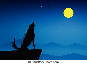 Wolf howling on top of mountain at full moon night