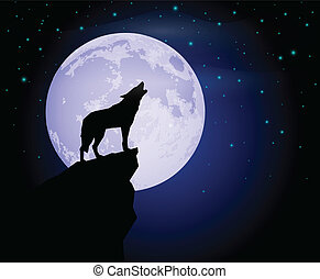 Silhouette of a lonely wolf howling in the moon light