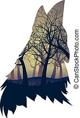 Wolf Howling with Forest