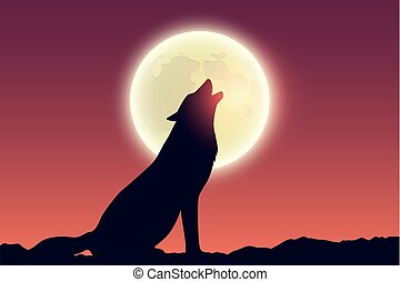 wolf howls at full moon silhouette