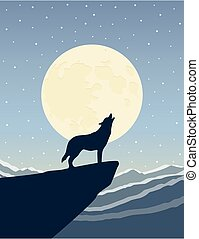 wolf howls at the full moon on snowy mountain landscape
