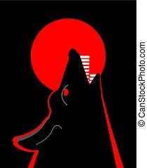 Wolf howls to moon head isolated. Vector illustration