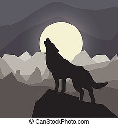 wolf howls to the moon against the background of gray mountains