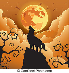 wolf, huilend, maan