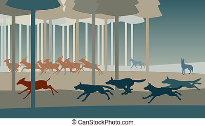 Wolf hunt - Editable vector illustration of a pack of wolves...
