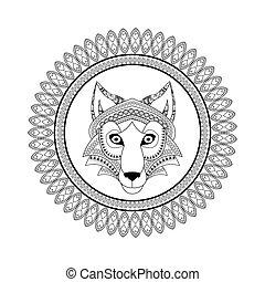 Wolf icon. Animal and Ornamental predator design. - Animal...