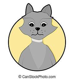 Wolf icon sticker app vector flat